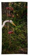 Great Egret In The Garden Beach Towel