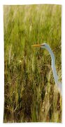 Great Egret In The Morning Dew Beach Towel