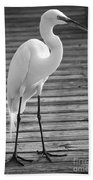 Great Egret On The Pier - Black And White Beach Towel