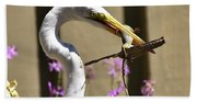 Great Egret With Lizard Who Is Holding Onto Wood Beach Towel
