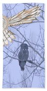 Great Gray Owl Together Beach Towel