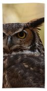 Great Horned Owl In A Tree 1 Beach Towel