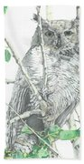 Great Horned Owl Perched In A Tree Beach Towel