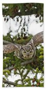 Great Horned Owl Takeoff Beach Towel