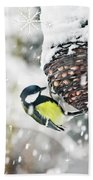 Great Tit In The Snow Card Beach Towel