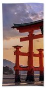 Great Torii Of Miyajima At Sunset Beach Towel