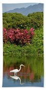 Great White Egret Fishing In A Pond With Tropical Plants And Sie Beach Towel