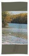 Great White Egret Fishing  Beach Towel