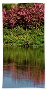 Great White Egret Hunting In A Pond In Mexico With Iguana And Re Beach Towel