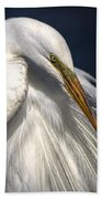 Great White Egret Print One Beach Towel