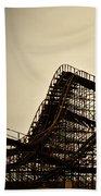 Great White Roller Coaster - Adventure Pier Wildwood Nj In Sepia Triptych 1 Beach Towel
