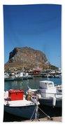 Greece Island Harbor Beach Towel