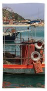 Greek Boat And Boots Beach Towel