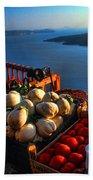 Greek Food At Santorini Beach Towel