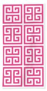 Greek Key With Border In French Pink Beach Towel