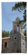 Greek Village Church In The Forest Beach Towel