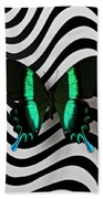 Green And Black Butterfly On Wavey Lines Beach Towel