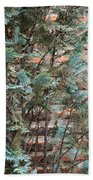 Green And Red - Cypress Branches Over Antique Roman Brick Wall Beach Towel