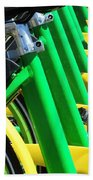 Green And Yellow Bicycles Beach Towel