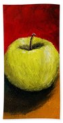 Green Apple With Red And Gold Beach Towel by Michelle Calkins
