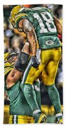 Green Bay Packers Team Art Beach Towel