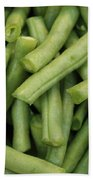 Green Beans Close-up Beach Towel