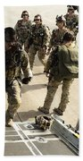 Green Berets Board A C-130h3 Hercules Beach Towel