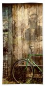 Green Bike Crooked Door Beach Towel