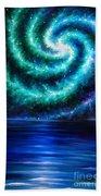 Green-blue Galaxy And Ocean. Planet Dzekhtsaghee Beach Towel