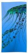Green Blue Jellyfish Beach Towel