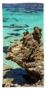 Green Blue Ocean Water And Rocks Beach Towel
