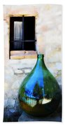 Green Bottle Italian Window Beach Towel
