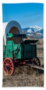 Green Covered Wagon Beach Towel