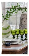 Green Decor Dinning Table Place Settings Beach Towel