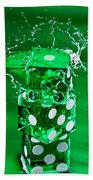 Green Dice Splash Beach Towel