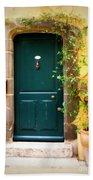 Green Door With Vine Beach Towel