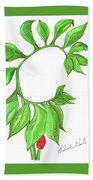 Green Dragon With Fruit Cluster Beach Towel