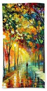 Green Dreams - Palette Knife Oil Painting On Canvas By Leonid Afremov Beach Towel