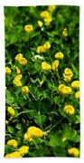 Green Field Of Yellow Flowers 4 Beach Towel