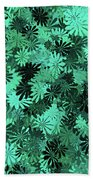 Green Floral Pattern Beach Towel