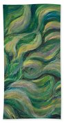 Green Flowing Flower Beach Towel
