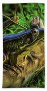 Green Frog On A Brown Log Beach Towel