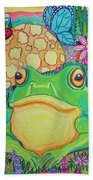 Green Frog With Flowers And Mushrooms Beach Towel