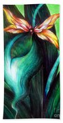 Green Golden Exotic Orchid Flower Beach Towel