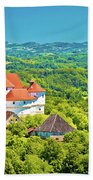 Green Hills Of Zagorje Region And Veliki Tabor Castle View Beach Towel