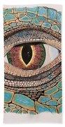 Green Iguana Eye Beach Towel