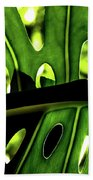 Green Leave With Holes Beach Towel