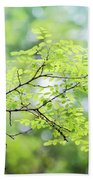 Green Leaves In The Forest Beach Towel