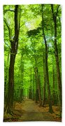 Green Light Harmony - Walking Through The Summer Forest Beach Towel