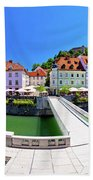 Green Ljubljana Riverfront Panoramic View Beach Towel